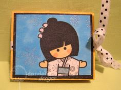 To make card base, cut a x piece of card stock. Each season scene is stamped on a Asian Cards, Dandelion Designs, Winter Springs, Girl Day, Autumn Summer, Card Stock, Bag Tutorials, Stamp, Seasons