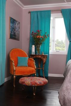 Madly in love!! @Travis Arnold  I want teal and orange in the living room