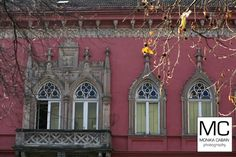 Pink house with interesting windows, Kosice, Slovakia