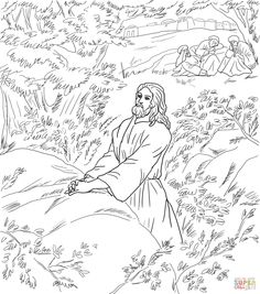 Jesus Pray in the Garden of Gethsemane coloring page from Good Friday category. Select from 24848 printable crafts of cartoons, nature, animals, Bible and many more. Jesus Coloring Pages, Easter Coloring Pages, Free Printable Coloring Pages, Coloring For Kids, Coloring Pages For Kids, Coloring Sheets, Image Jesus, Jesus Photo, Holy Week