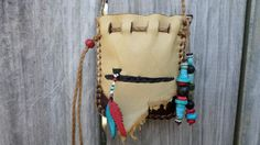 Brown colored Leather Medicine Bag with a Peace by ncbeadsnbags, $55.00