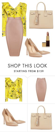 """""""Untitled #74"""" by bettina-agoston on Polyvore featuring self-portrait, Gianvito Rossi, Yves Saint Laurent and Tom Ford"""