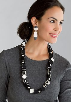 Black and White Licorice Necklace by Danielle Gori-Montanelli: Felted Necklace available at www.artfulhome.com