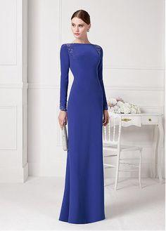 Gorgeous Chiffon Bateau Neckline Sheath Evening Dresses With long Sleeves