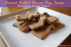 Homemade Peanut Butter Bacon Dog Treats- Homemade Beggin Strips