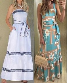 DIY - molde, corte e costura - Marlene Mukai Mode Outfits, Dress Outfits, Fashion Dresses, Vestidos Vintage, Vintage Dresses, Casual Summer Dresses, Casual Outfits, Frack, Diy Dress