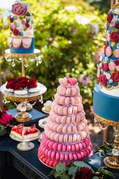 Chandelier Round Cake Stands (set of Pedestal Base — Opulent Treasures Macaron Cake, Macarons, Chandelier Cake Stand, Metal Cake Stand, Paris Party, Fairy Birthday, Cake Trends, Round Cakes, Tiered Cakes