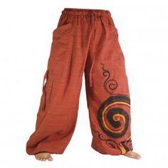 Pantalón tailandeses para enlazar con diseño en espiral en algodón pesado