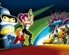 Futurama's robots, including Bender, the cigar-smoking, beer-guzzling egomaniac. Notice Leela's hair and the tentacles: similar to the Spaceship Earth and Space Mountain colours, no?