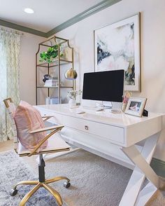 A productive day begins with a chic workspace. We can't get enough of @honeywerehome's office, styled with our Jett Desk.