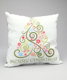 One Bella Casa 'Merry Christmas' Whimsical Tree Pillow