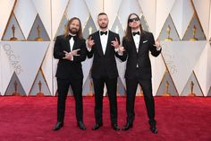 Justin Timberlake, Max Martin and Karl Johan Schuster Oscar 2017 Red Carpet Arrival: 2017 Oscar Nominees on the Red Carpet - Oscars 2017 Photos Oscars 2017 Red Carpet, Oscar Fashion, 2017 Photos, Justin Timberlake, Academy Awards, Red Carpet Fashion, Style, Swag, Outfits