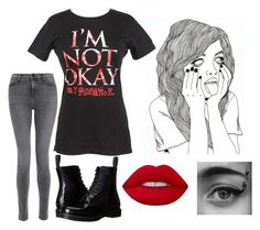 """Not Okay"" by piper-chauhan ❤ liked on Polyvore featuring J Brand, Dr. Martens and Lime Crime"