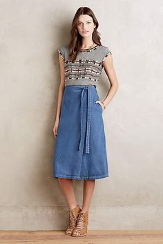 Fornea Denim Wrap Skirt - anthropologie.com