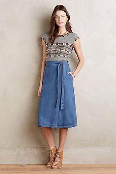 Fornea Denim Wrap Skirt - anthropologie.com