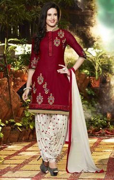 Red Cotton Punjabi Suit 56206