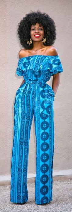 An off-the-shoulder jumpsuit screams chic! Add some bold blue hues and a fun pattern, and you're unstoppable!