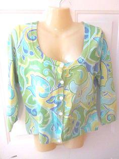 Axcess Liz Claiborne Womens Button Down Shirt Green Floral Medium 3/4 Sleeve  #Axcess #ButtonDownShirt