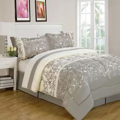 """Add a lovely touch to your master suite or guest room with this charming comforter set, showcasing a vine motif for eye-catching appeal.  Product: Queen: 1 Comforter, 1 bed skirt, 2  standard shams, 1 flat sheet, 1 fitted sheet, 2 standard pillowcases and 1 accent pillowKing: 1 Comforter, 1 bed skirt, 2  king shams, 1 flat sheet, 1 fitted sheet, 2 king pillowcases and 1 accent pillowConstruction Material: MicrofiberColor: Ivory and brownFeatures: 14"""" Bed skirt dropDimensions: Standard Sham…"""