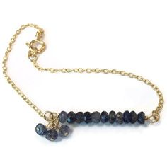 Iolite Bracelet Gold Jewelry Bead Bar Chain Gemstone Jewellery Dangle Blue Purple Iridescent Handmade Fashion Layer Stack B-268