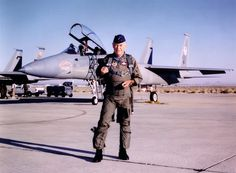 """October 1997 -- Brigadier General Charles E. """"Chuck"""" Yeager standing in front of his F-15 Eagle on the 50th Anniversary of his becoming the first man to break the speed of sound. (U.S. Air Force photo)"""