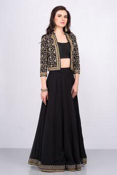 MALVIKA TALWAR black crop top and skirt with embroidered jacket #flyrobe #weddings #friendsofthebride #designerwear #indianweddings#indianweddingoutfits