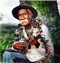 Ukulele man. Colorized by Steve Smith from the original b&w image