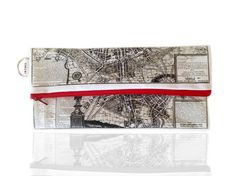 Paris ancient map Fold over clutch women hand bag by efratul
