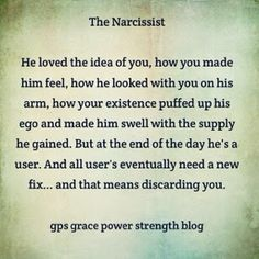 To the Narcissist you were a 'thing', like a prop in a movie.I know it is hard to believe that you were never loved, however, the sooner you can understand that, the sooner you can move on to your recovery. Faher/THE CEMENT BENCH Narcissistic People, Narcissistic Behavior, Narcissistic Abuse Recovery, Narcissistic Sociopath, Narcissistic Personality Disorder, Abusive Relationship, Toxic Relationships, Relationship Quotes, Life Quotes