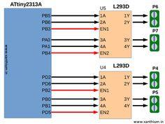ATtiny based bidirectional motor control using