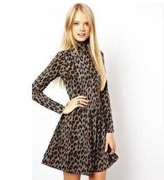 Autumn New Women Dress Turtleneck Long Sleeve Print Leopard Dress Fashion Sexy Slim Accept Waist Casual Leopard Dress M-212