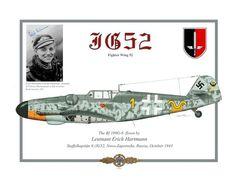 """Bf 109 G6 """"Gelb 1"""" pilotato del Leutnant Erich Hartmann (352 vittorie), Staffelkapitaen 9./JG 52, Novo Zaporozhe, Russia 1943."""