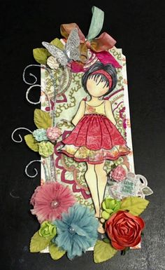 Prima Doll Stamp and Spectrum Noir Pens - Tag