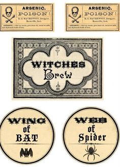 Fun, clean bottle labels from The Graphics Fairy - Crafts: Halloween Printable Labels Retro Halloween, Spooky Halloween, Holidays Halloween, Halloween Crafts, Halloween Stuff, Halloween Pumpkins, Halloween Makeup, Halloween Party, Halloween Halloween
