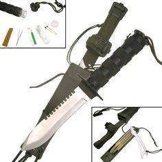 @ShopAndThinkBig.com - 10.5 Overall 5 Thick Stainless Steel Blade, Saw Back Serrations 5 Textured And Ribbed Solid Metal Handle And Guard Jungle Military Cord Wraps And Lanyard Cords http://www.shopandthinkbig.com/105-survival-knife-p-902.html