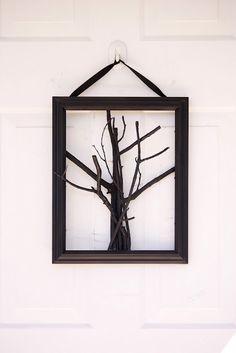 spooky tree door hanging wreath alternative