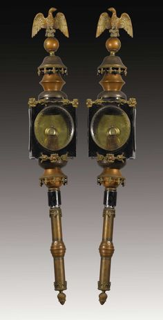 A Pair of English Tole, Copper and Brass Carriage Lights. England. 19th Century.