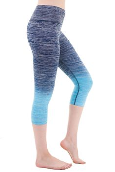 Ombre Yoga Athletic Workout Exercise Capris Leggings