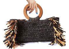 Items similar to Corallina Raffia Bag Inspired Crochet Woven Tote with Wooden Hoop Handles,Luxury Bag with Ring Handles,Boho Style Bag,Free EXPRESS Shipping on Etsy Crochet Clutch, Crochet Handbags, Crochet Bags, Crochet Beach Bags, Tote Handbags, Purses And Handbags, Butterfly Bags, Make Up Palette, Ethno Style