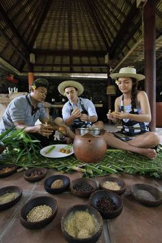 Learn to cook traditional Balinese classics like satay lilit, or lemongrass and pork barbecued skewers, at Puri Sunia Resort #Indistay,   Bali, Indonesia