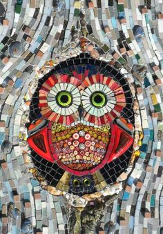 This is a light-hearted piece depicting a mother & baby owl, peaking from a hole in a tree trunk. I made the owl eyes with fused dichroic glass, and u Owl Mosaic, Mosaic Birds, Mosaic Art, Mosaic Glass, Glass Art, Glass Tiles, Glass Ceramic, Stained Glass Supplies, Stained Glass Projects