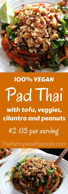 Vegan Pad Thai in a spicy, salty sauce, loaded with veggies, peanuts and cilantro. Great quick meal for weeknights!