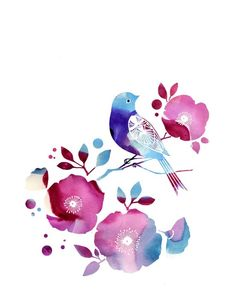 "Watercolor Illustration print of a bird and flowers titled ""Midday Song"""