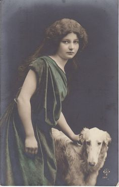 pretty young lady with BORZOI dog photo postcard 1910's | eBay
