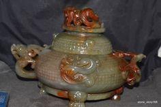 Chinese Antique Jade Powerful Dragon&Phoenix Incense Burner Totem Pot Carving LS