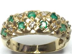 Brush & High Polish Natural Emerald & .08ctw Diamond Ring 14k Yellow Gold GV8710 #Unknown #Cluster