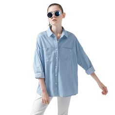 Toyouth Shirts 2017 Spring New Women Loose Solid Color Casual Turn Down Collar Cotton Long Sleeve Blouse Cotton Blouses, Shirt Blouses, Spring New, Early Spring, Casual, Blouse Vintage, Blue Blouse, Denim Shirt, Button Up Shirts