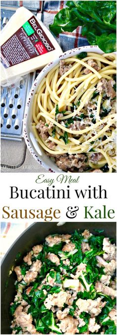 Bucatini with Sausage and Kale. This Italian quick meal is tasty and easy to make! The whole family will love this dish! The Foodie Affair
