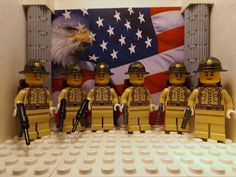 6x LEGO WWII American Marine 1st Division 1941 w/ M1911's, M3's and Backpacks