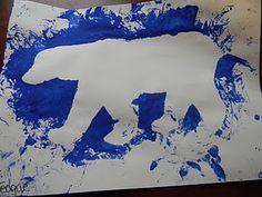 Polar Bear Polar Bear, What Do You Hear?  Just tape down polar bear cutout and paint.  When you take off cutout this is what you get.